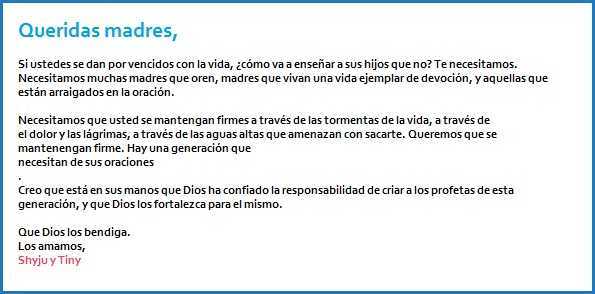 letter to mothers spanish