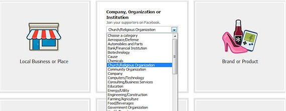 Facebook category options choosing Facebook page